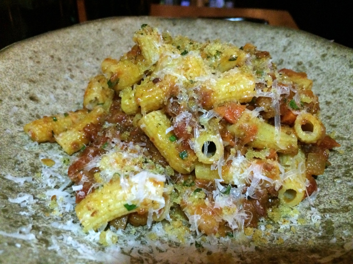 Black Peppercorn Rigatoni-spiced lamb ragout, caciocavallo, bread crumb ($17)