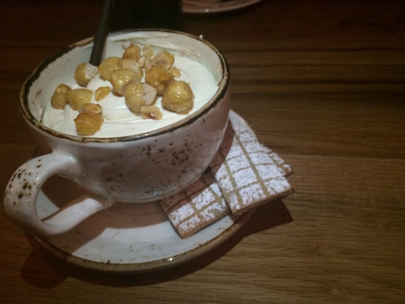 Gianduja Budino-mascarpone cream   candied hazelnut   hazelnut shortbread ($9)