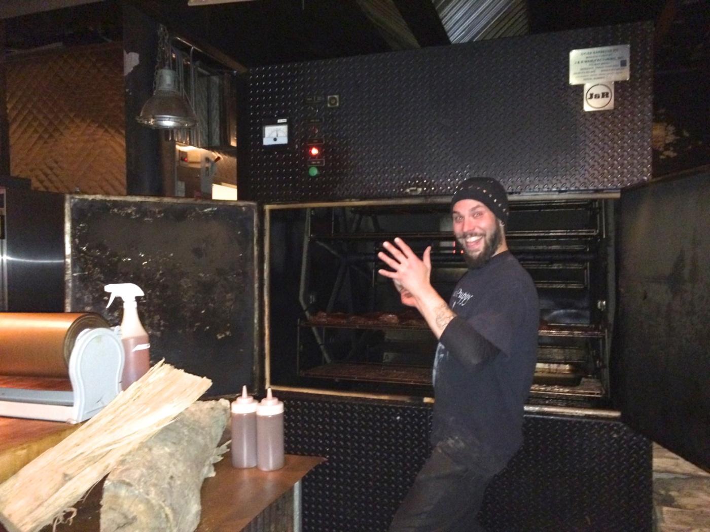 Happy guy at Green Street Smoked Meats