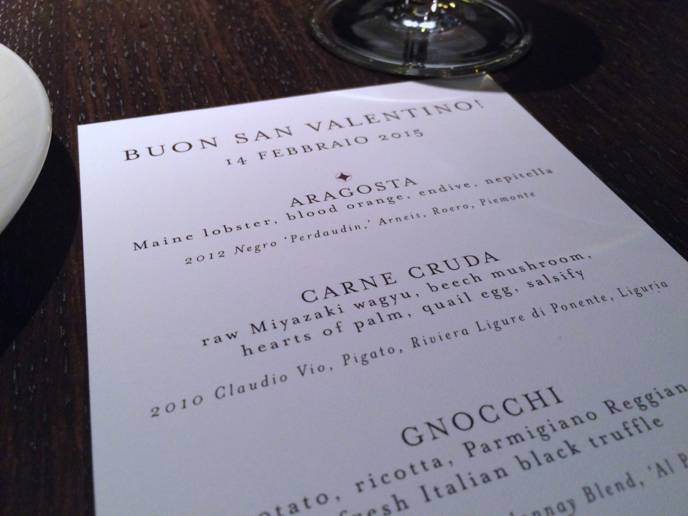 Valentine's Day tasting menu at Spiaggia