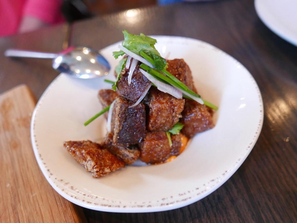 Crispy pork, honey, soy, radishes, kimchi aioli, cilantro