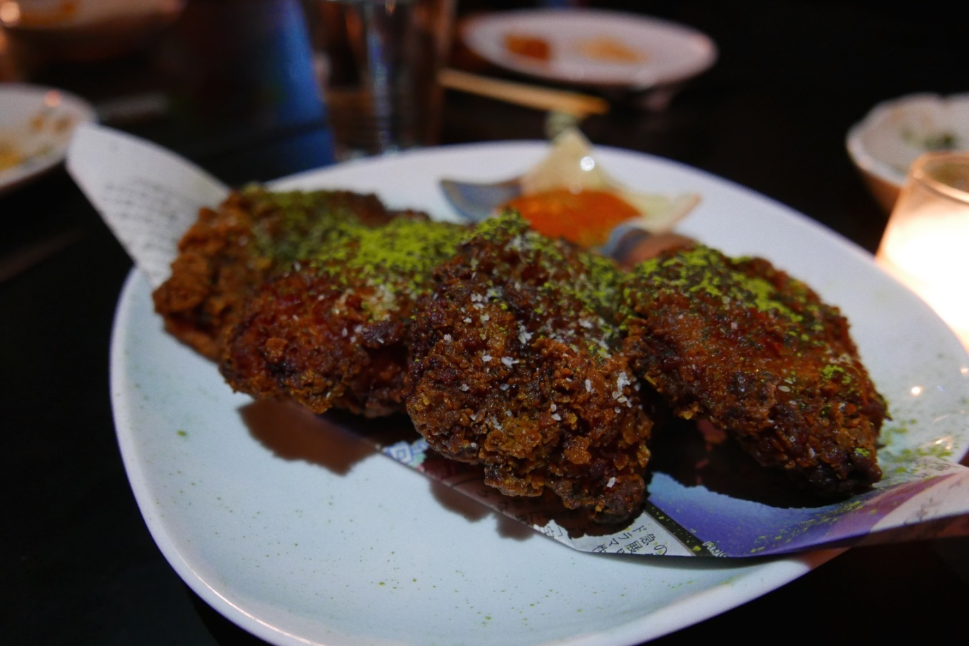 2X Fried Chicken, spicy dipping sauce, green tea, lime