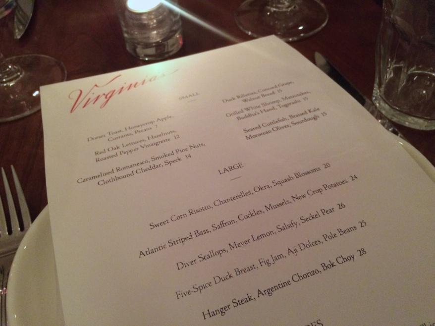 Menu at Virginia's