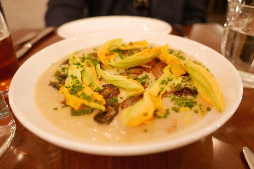 Sweet Corn Risotto, Chanterelles, Okra, Squash Blossoms
