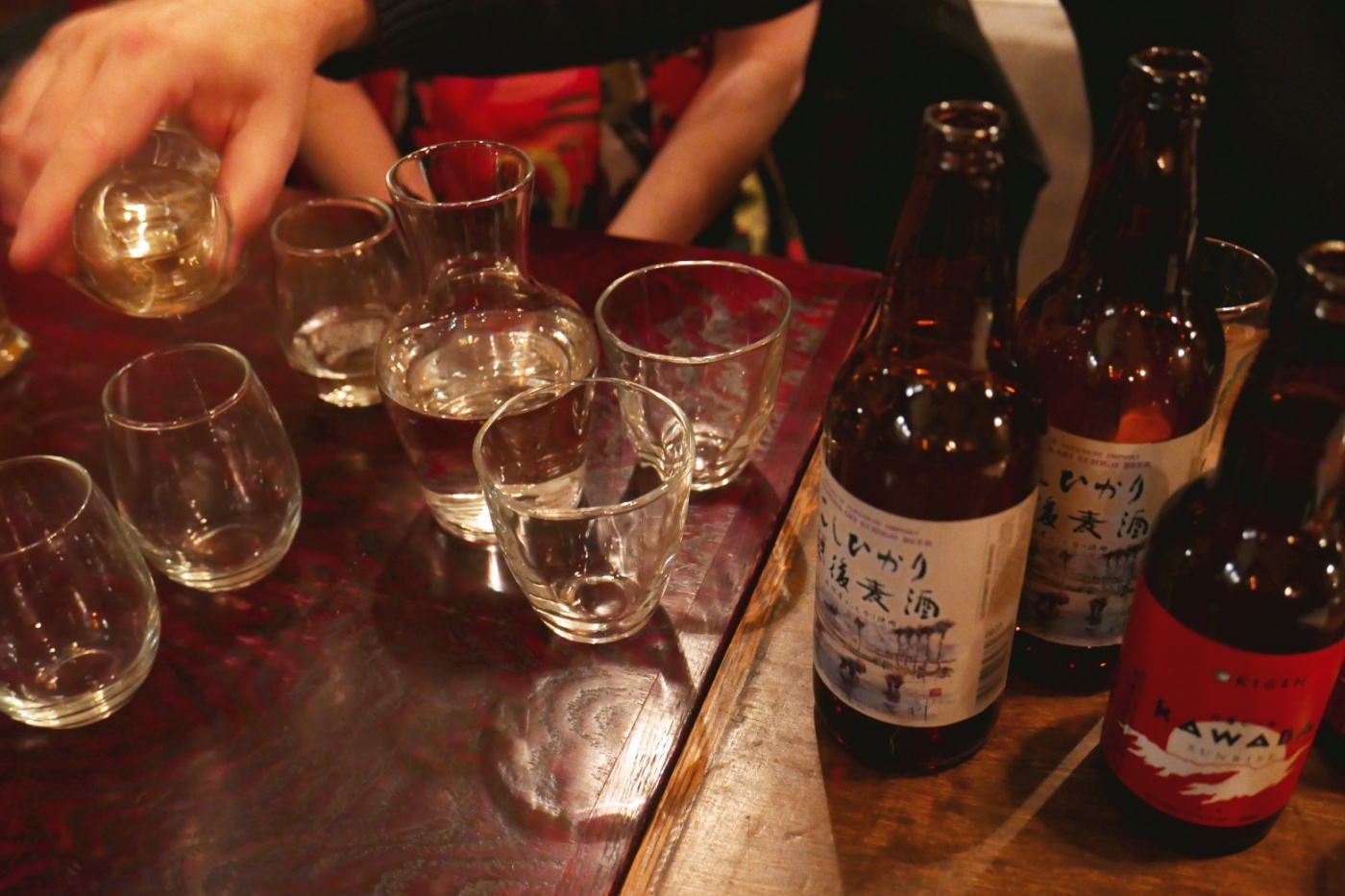 Sake is made from only rice, more like a wine, is distilled then fermented.