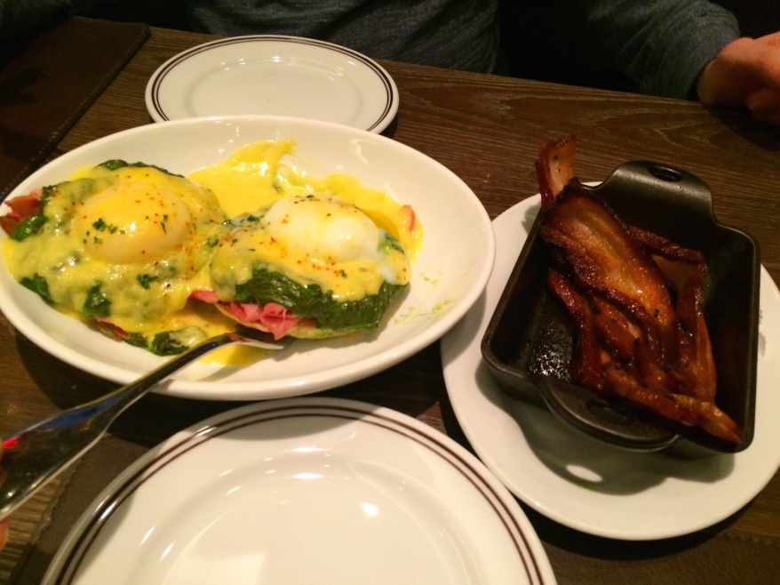 Eggs Benedict and bacon at DBDG Kitchen