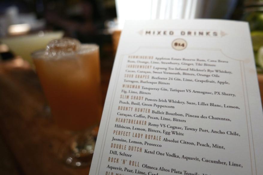 Mixed drinks menu at Dead Rabbit Taproom