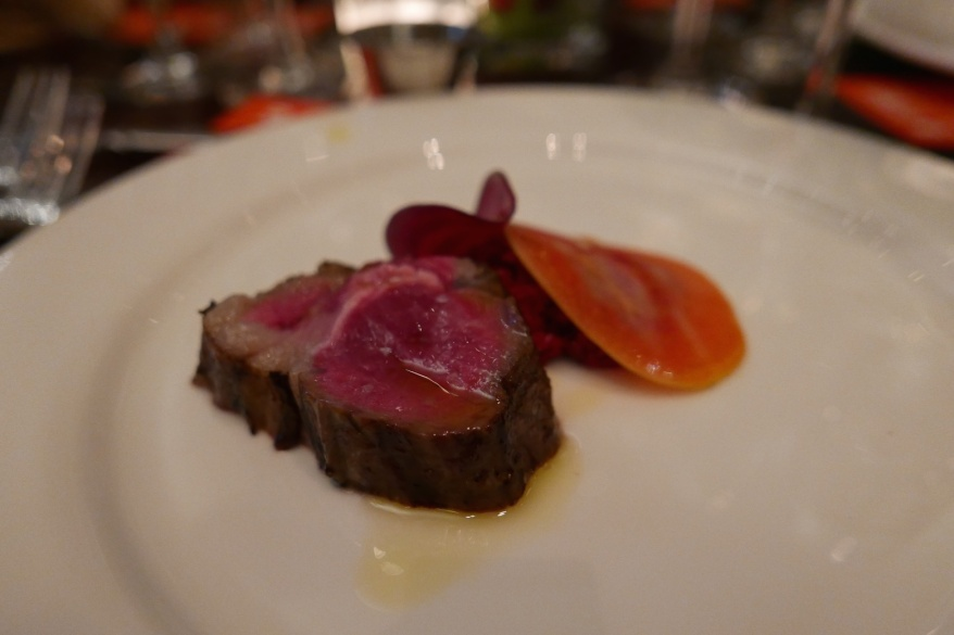BBQ Lamb with petals of beets and rose, aromatic red sauce. By Matt Lightner