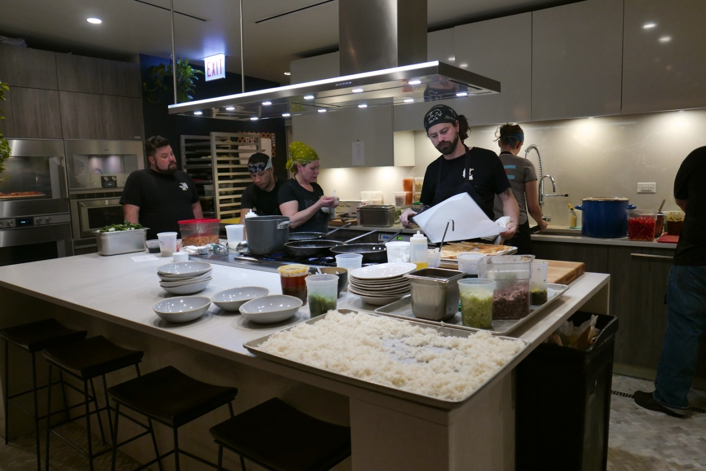 Stephanie Izard and crew at Duck Duck Goat Preview Dinner
