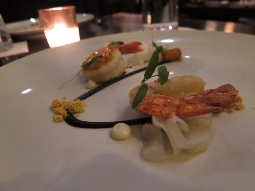 Baja Shrimp - Cuttlefish noodles, truffle squid ink vinaigrette, fried spoon bread, black kale, chorizo (1)