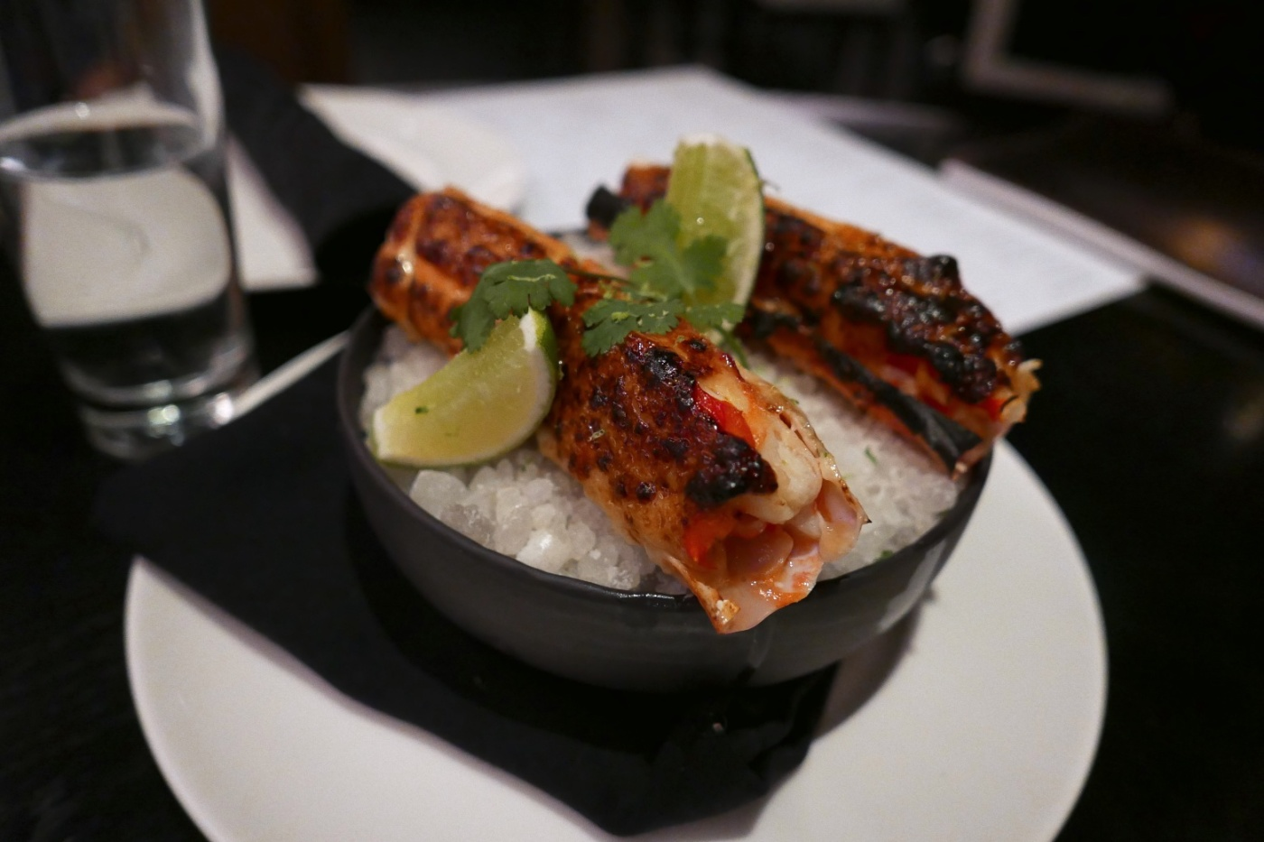 Coal-Roasted King Crab, Crème Fraîche, Miso, Lime, Coriander