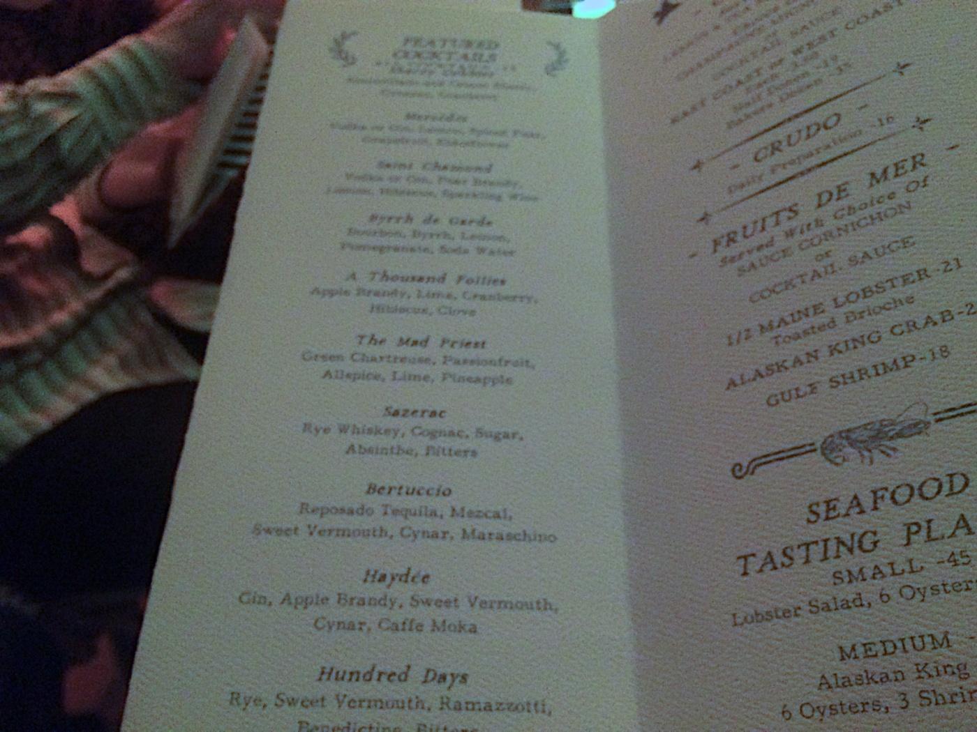 Bar menu at Le Sel