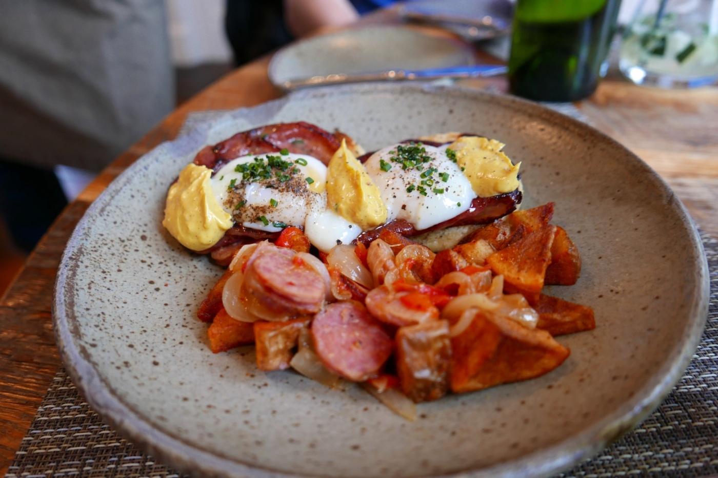 Eggs Benedict, Fried Bologna, Cornmeal English Muffin, Red-Eye Hollandaise