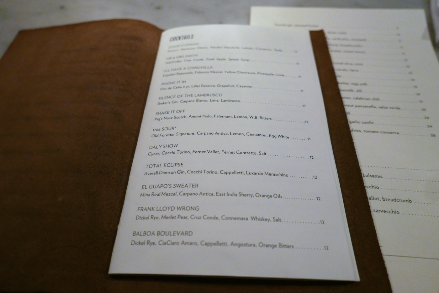 Cocktail menu at Rolf and Daughters
