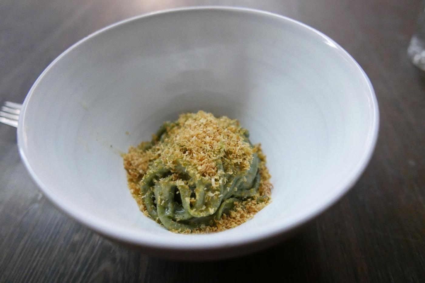 Wakame Seaweed Bucatini, Yuzu Kosho Topped with Shaved Scallop Jerky