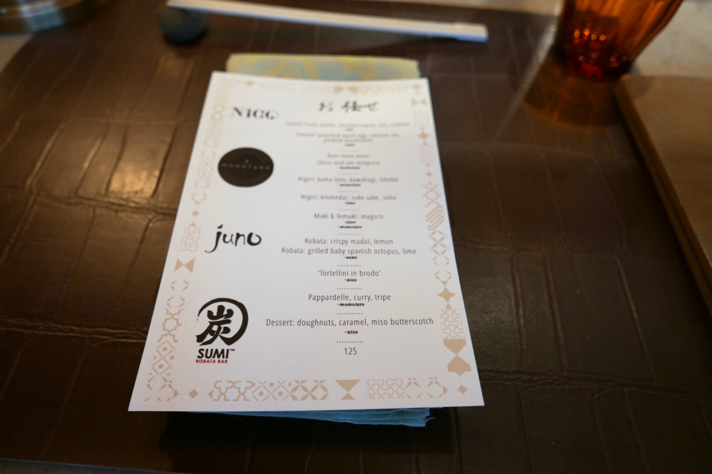 Menu for Nico Omakase at Nico Osteria. One night only.