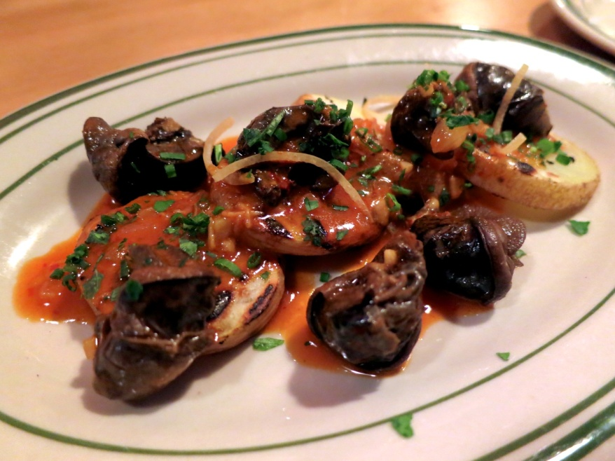 Burgundy Snails, Grilled Potato, Preserved Lemon, Harissa Butter