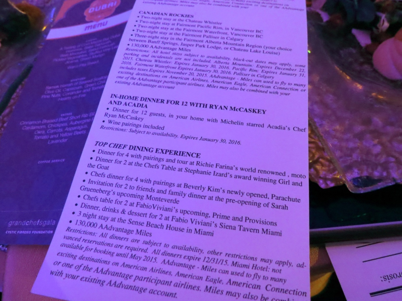 Auction items at Grand Chefs Gala