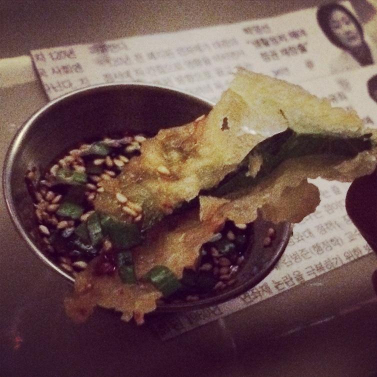 Crispy sesame leaves, bourbon barrel soy ($4)