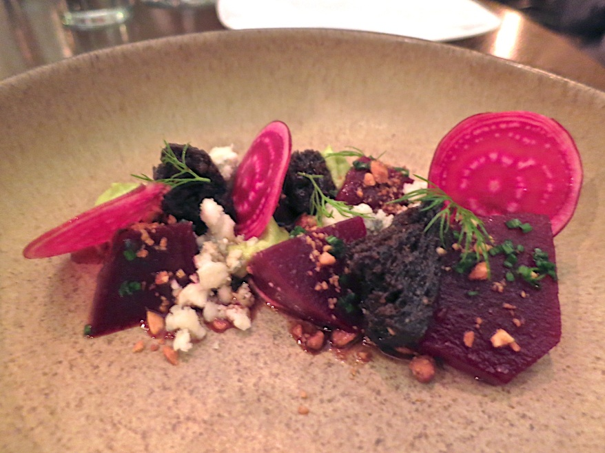 Marinated Beets, bohemian blue, avocado, pumpernickel, peanuts