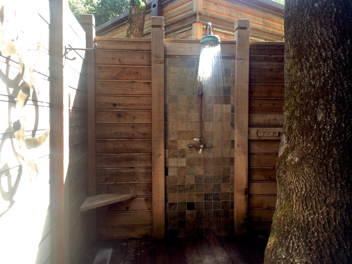 Outdoor shower at Calistoga Ranch