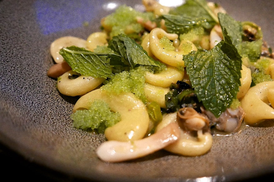 Buttered Pipe Pasta and Clams, green chili ragout, assorted limes