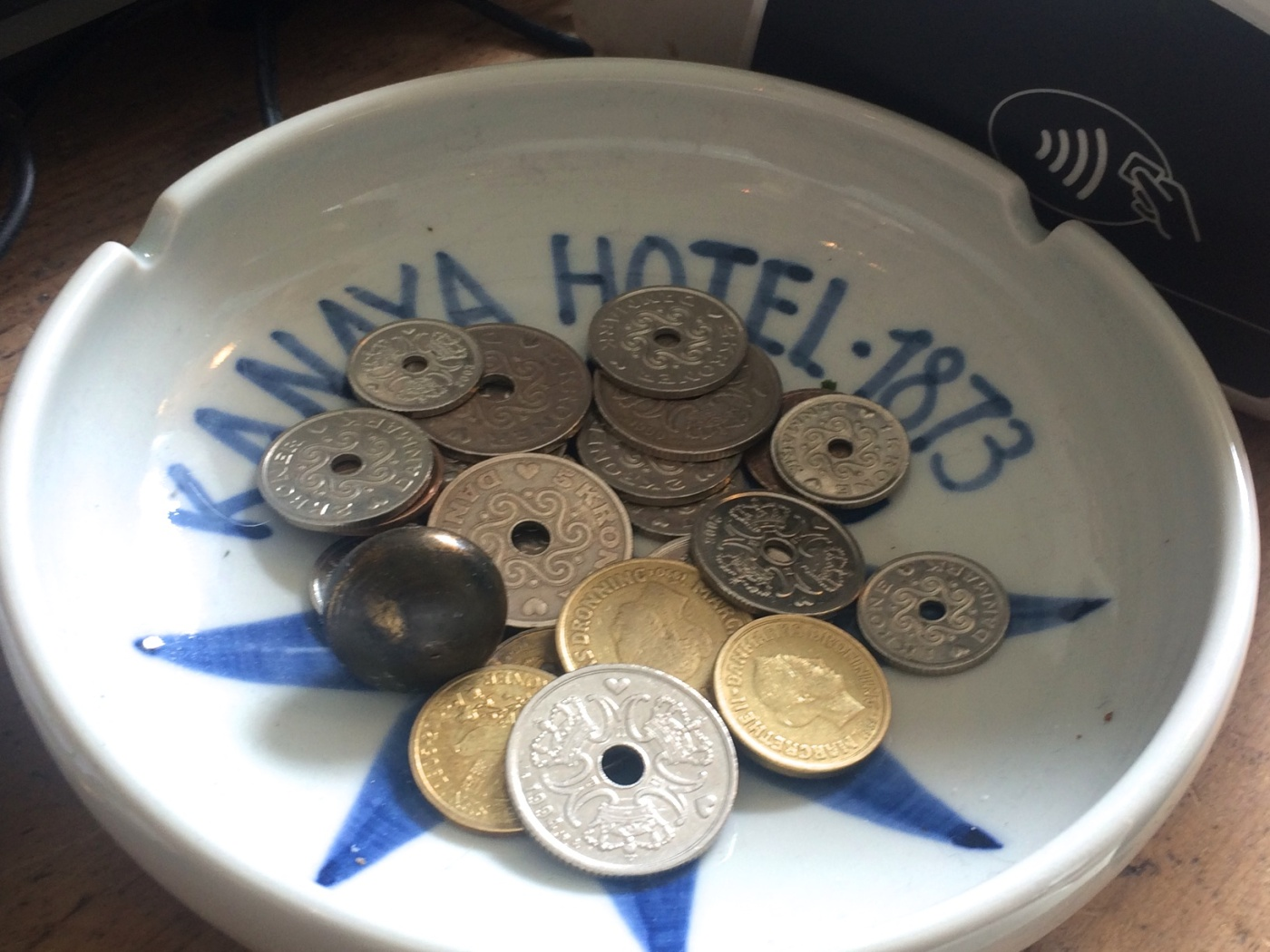 Coins and a button