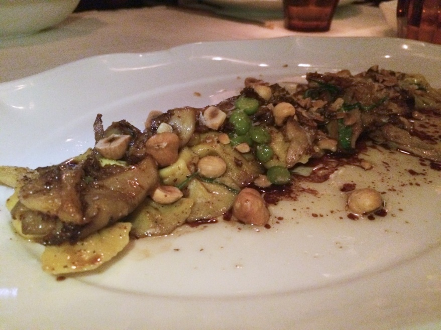 Goat Cheese Caramelle, forest mushroom, chickpea, hazelnut, saba ($22)