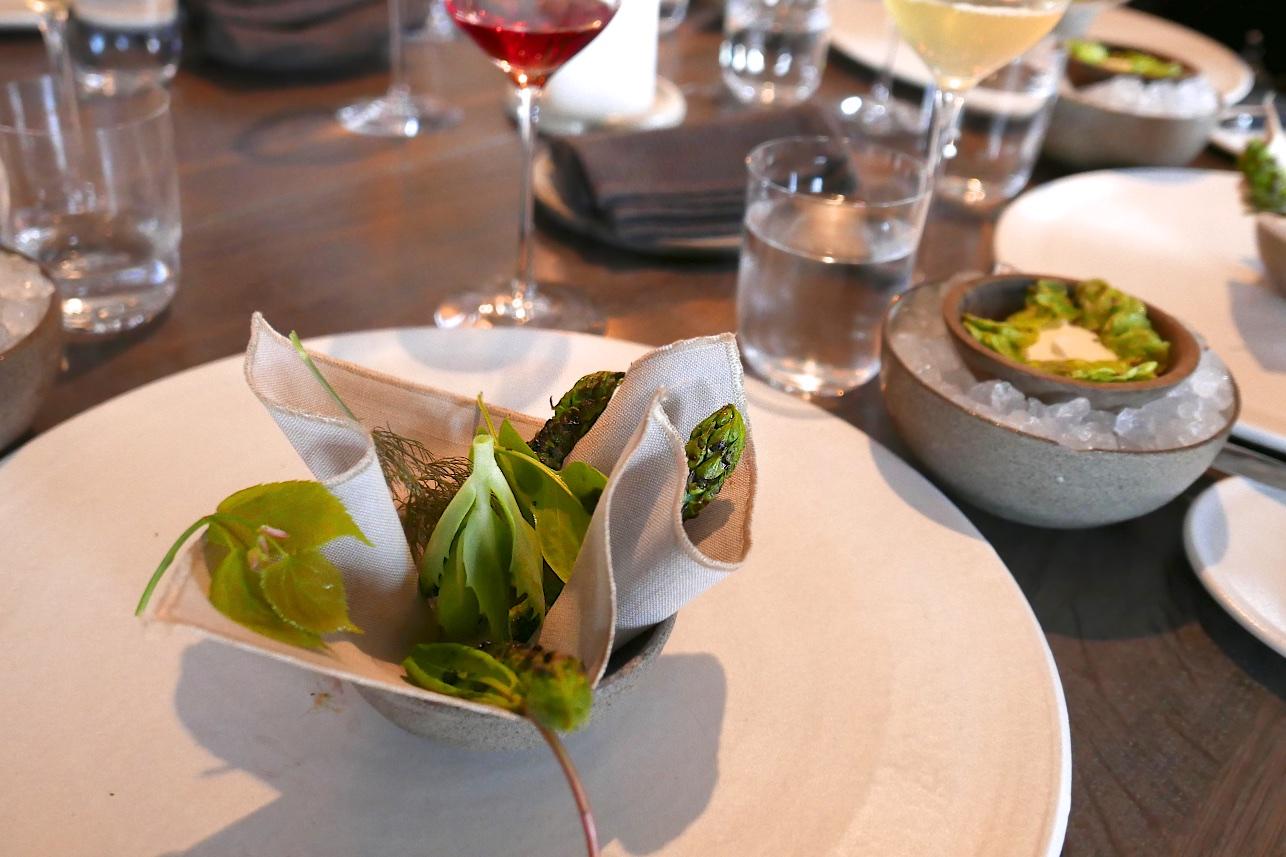 Asparagus, sorrel, fennel. Cream dip made with horseradish and elm seeds