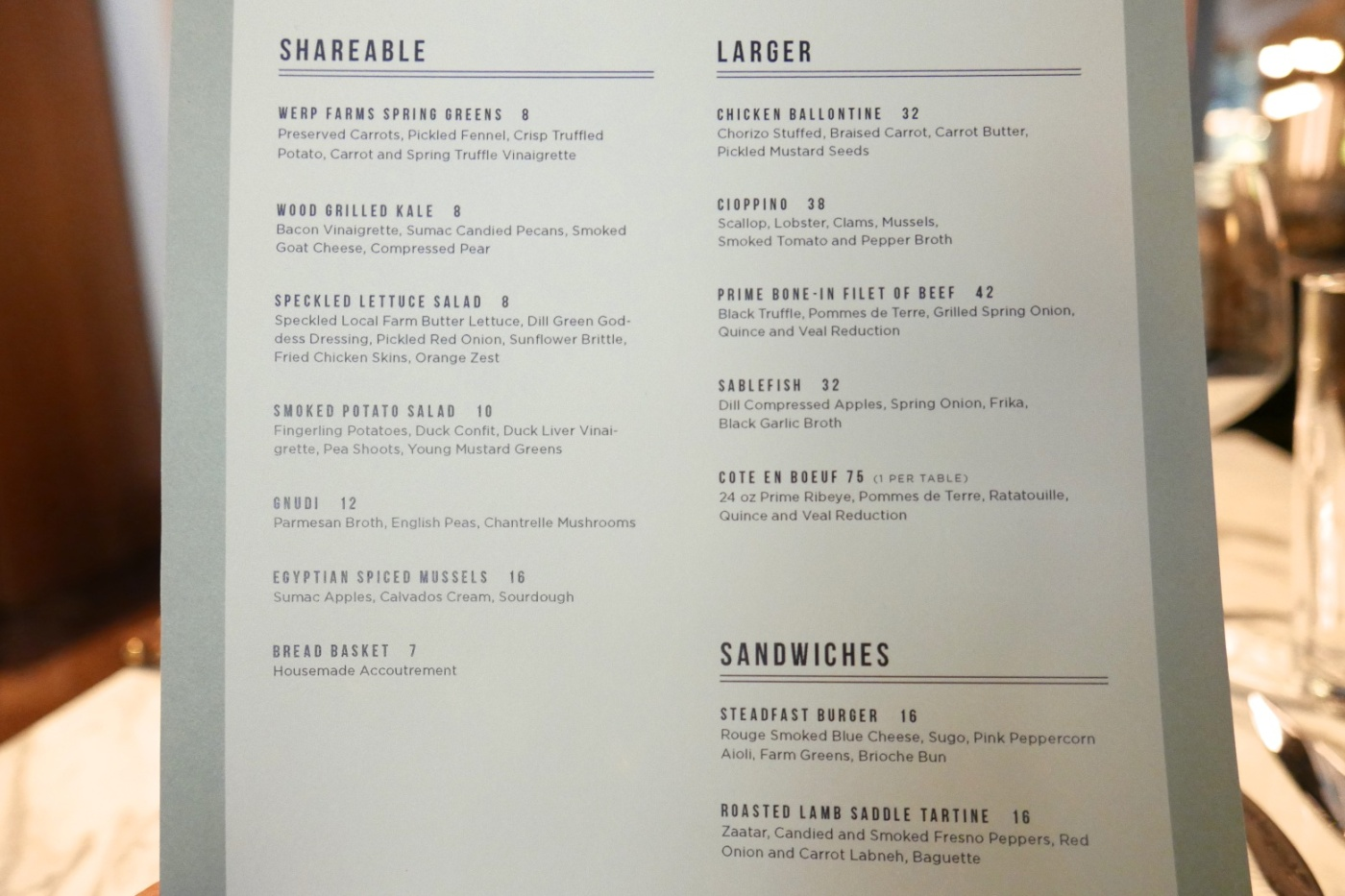 Menu at Steadfast