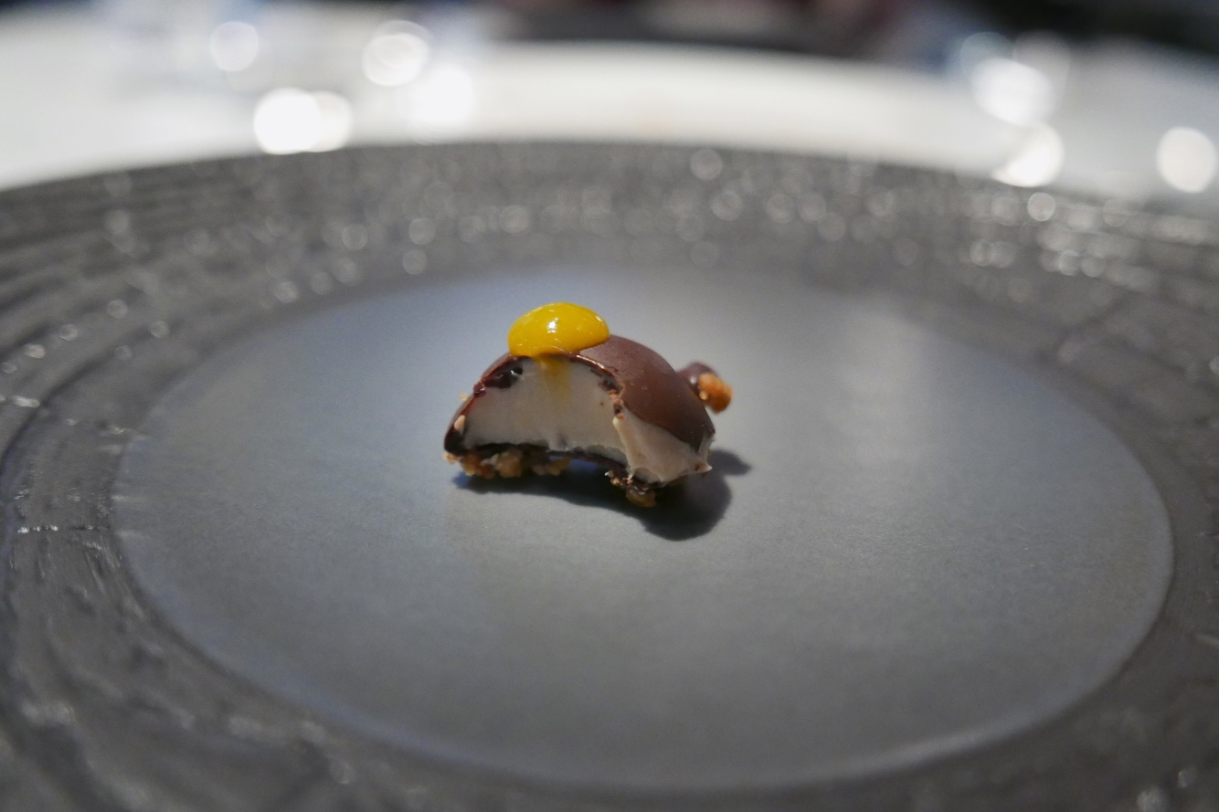 Chocolate Covered Foie, Cara Cara Orange, Sea Salt, Almond