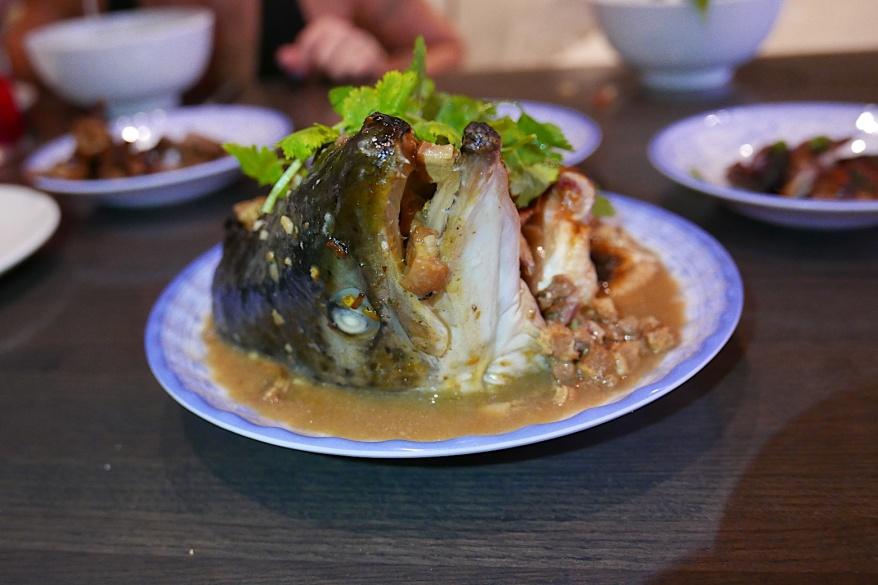 Đầu Cá Kho. Roasted salmon head, caramelized pork belly