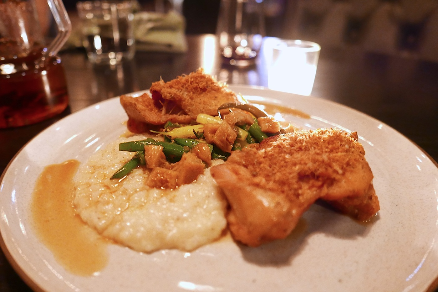 Crispy Chicken Thighs, Carolina Gold Rice Grits, Pickled Tripe