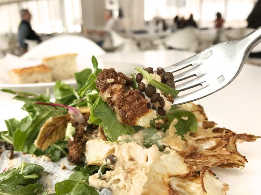Battered Cauliflower Steak, lentils, almond lime dressing