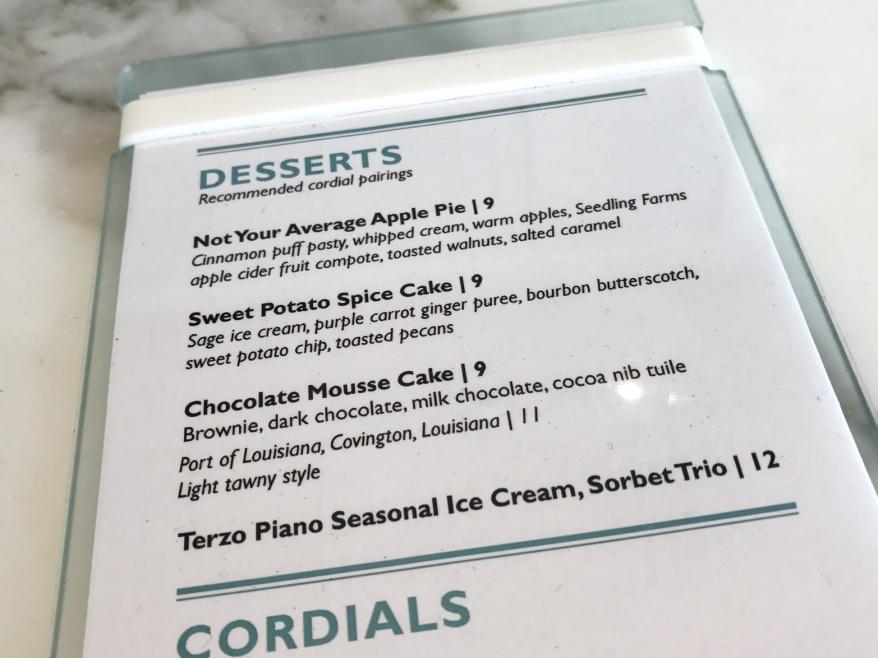 Seasonal Dessert Menu at Terzo Piano
