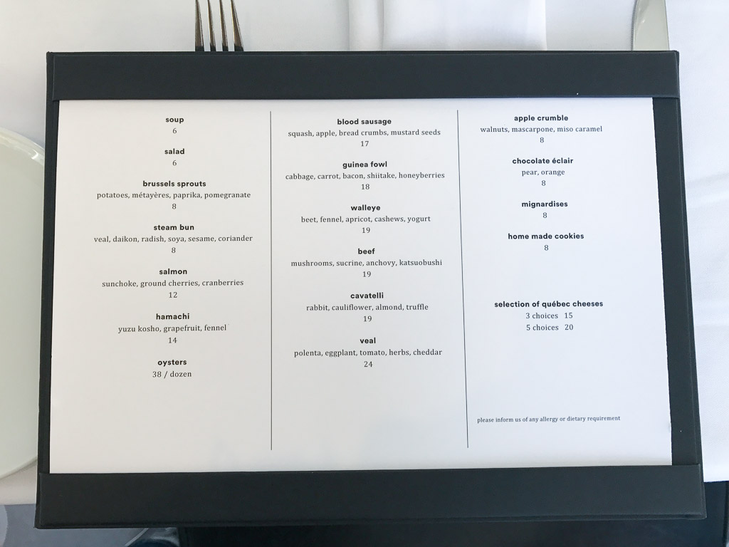 Lunch menu at Bouillon Bilk