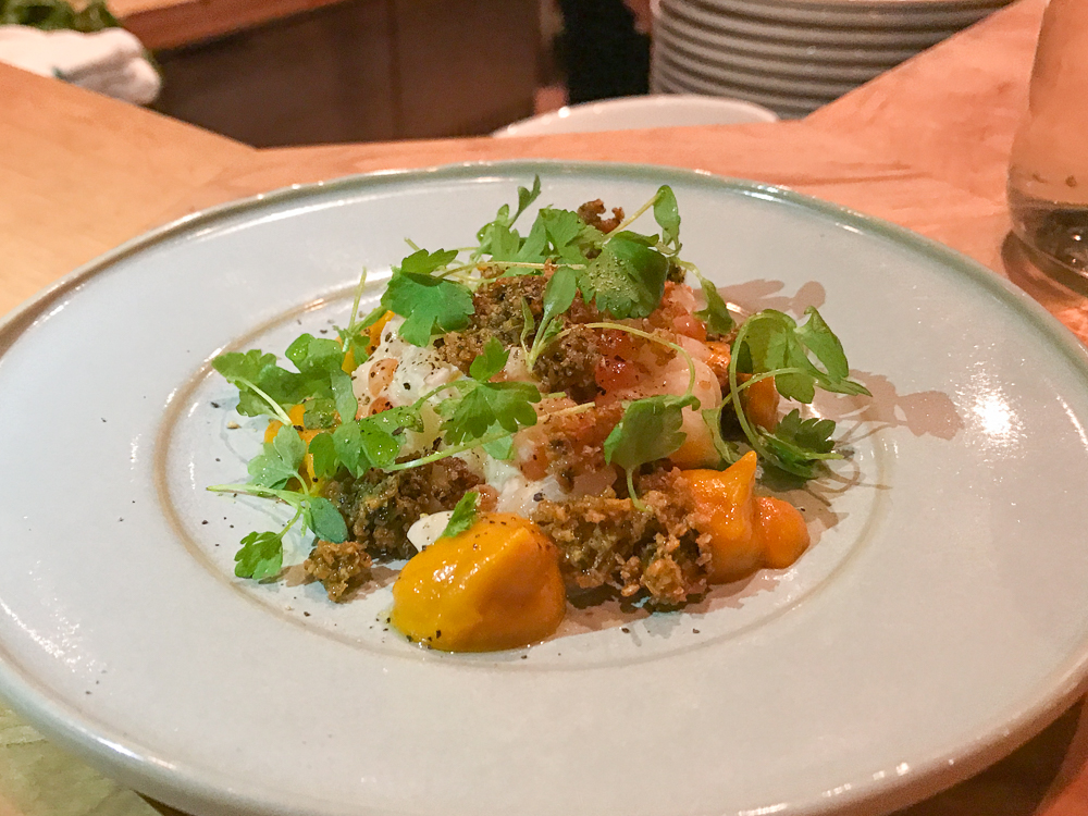 Scallop Tartare, salmon caviar, celery aioli, carrot puree, basil shoots