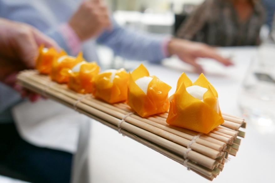 Intermezzo. Mango Filled with Coconut Sorbet