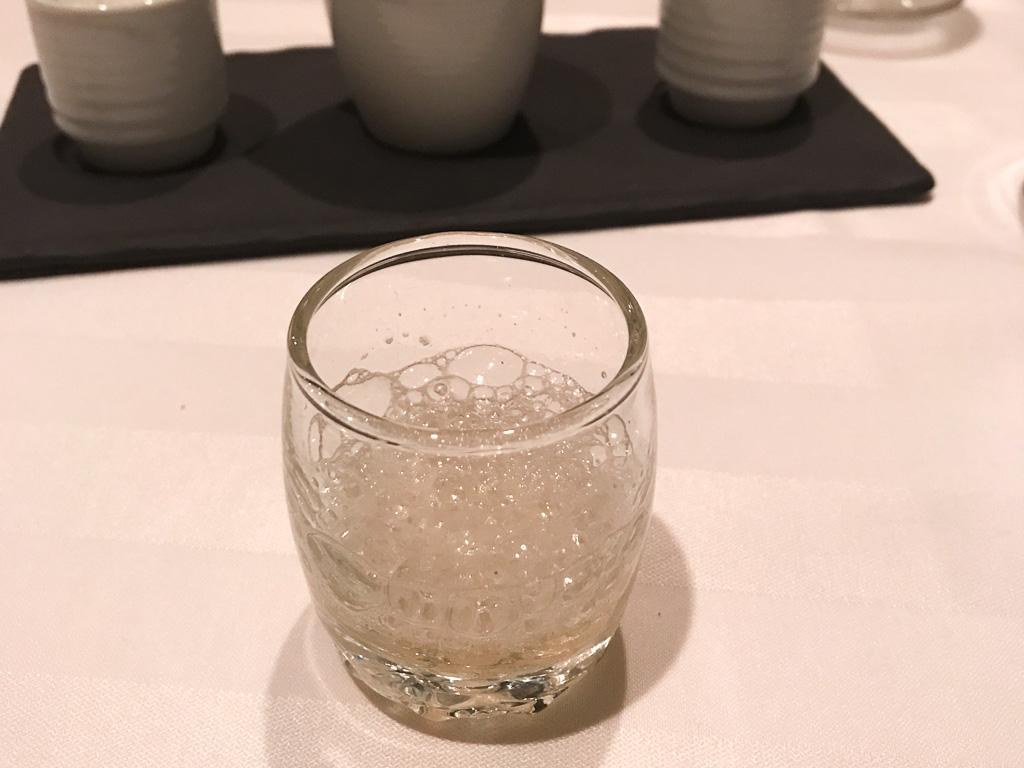 Lemon dessert drink at Restaurant Initiale