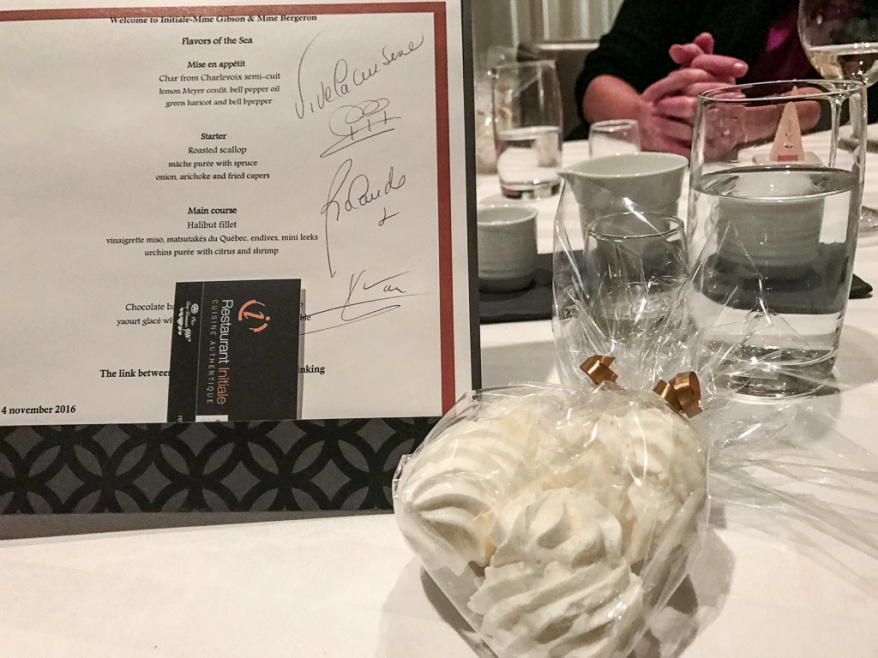 Menu and meringue at Restaurant Initiale