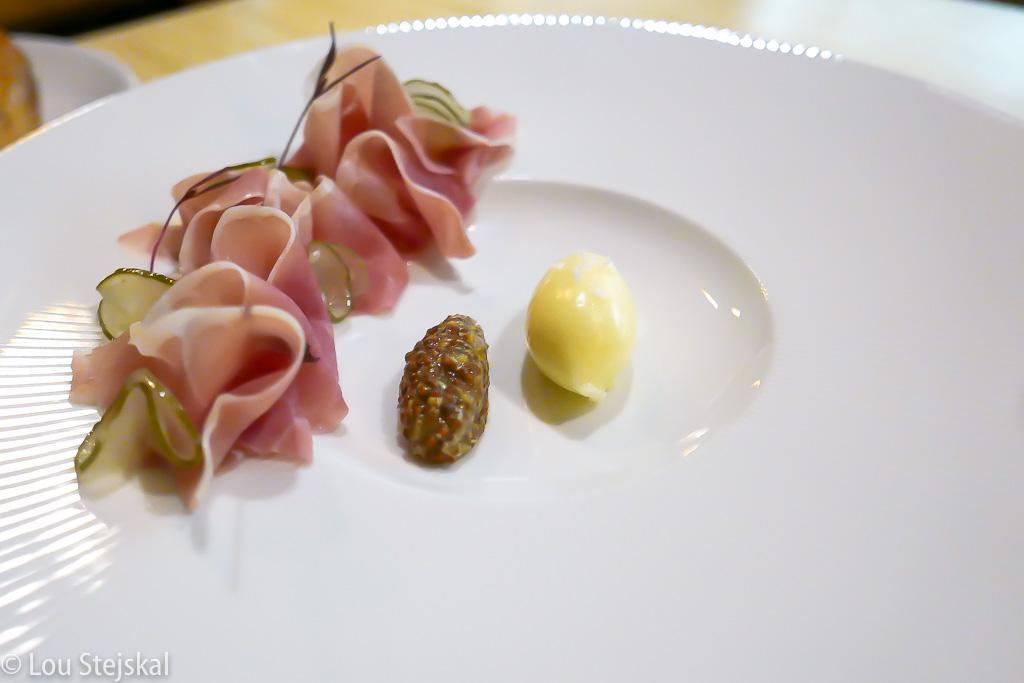Parker House Rolls, Benton's ham, cultured butter, mustard