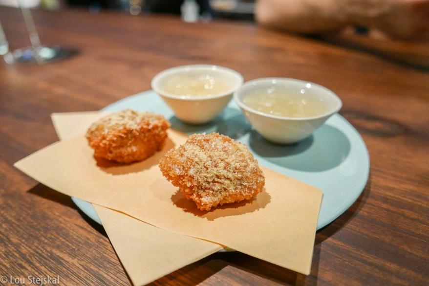 Chicken Oyster, Honey Mustard Powder. and Kimchi granita chaser