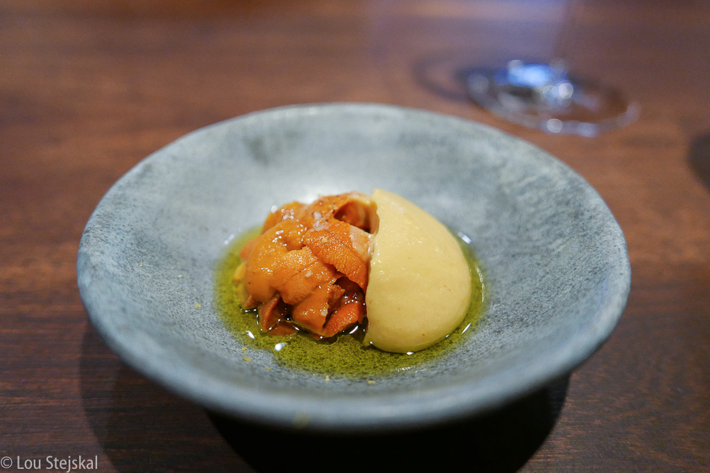 Sea Urchin, Chickpea, Hozon, Lemon, Olive Oil