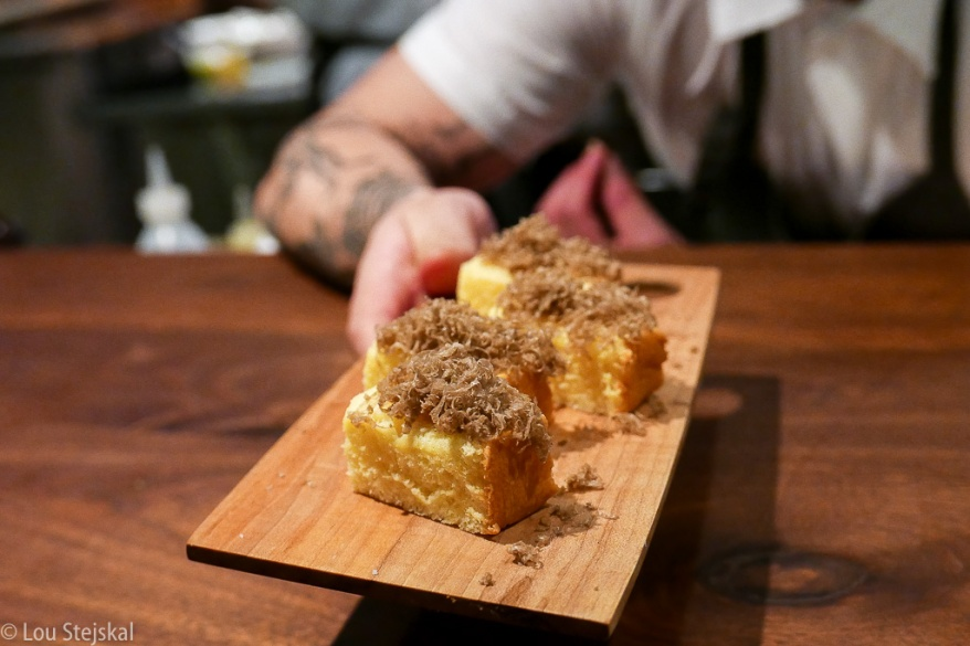 Sheep Milk Japanese-Style Cheesecake, Warm with Truffles
