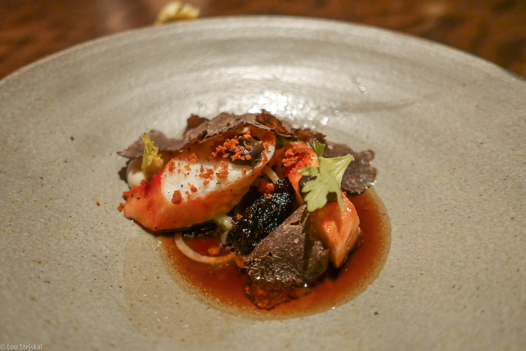 Grilled King Crab, celery root, brown butter, black truffle