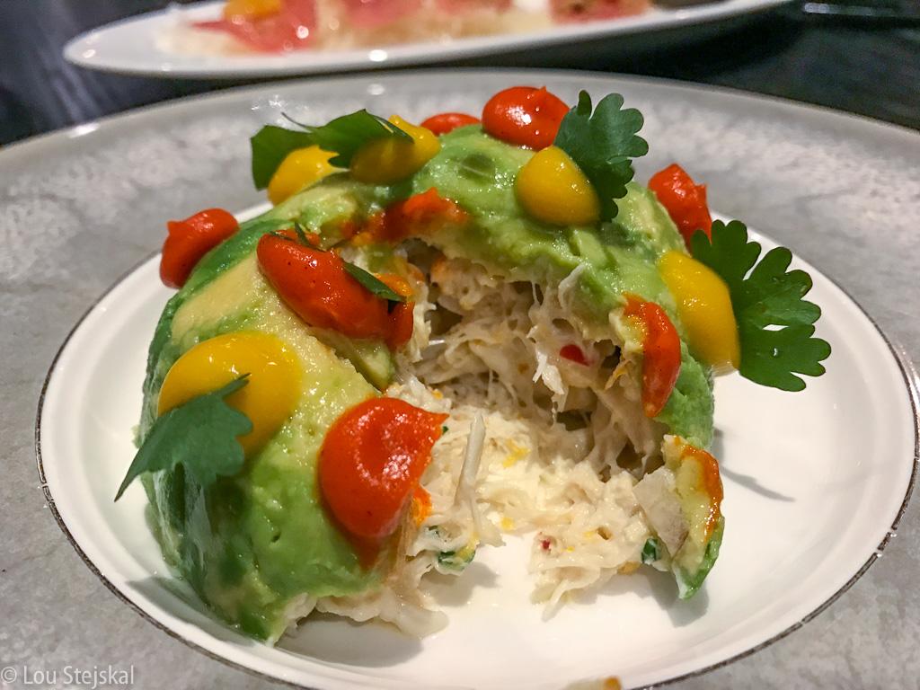 Crab and Avocado. Blue crab, avocado, mango, red bell pepper, cilantro ($22)