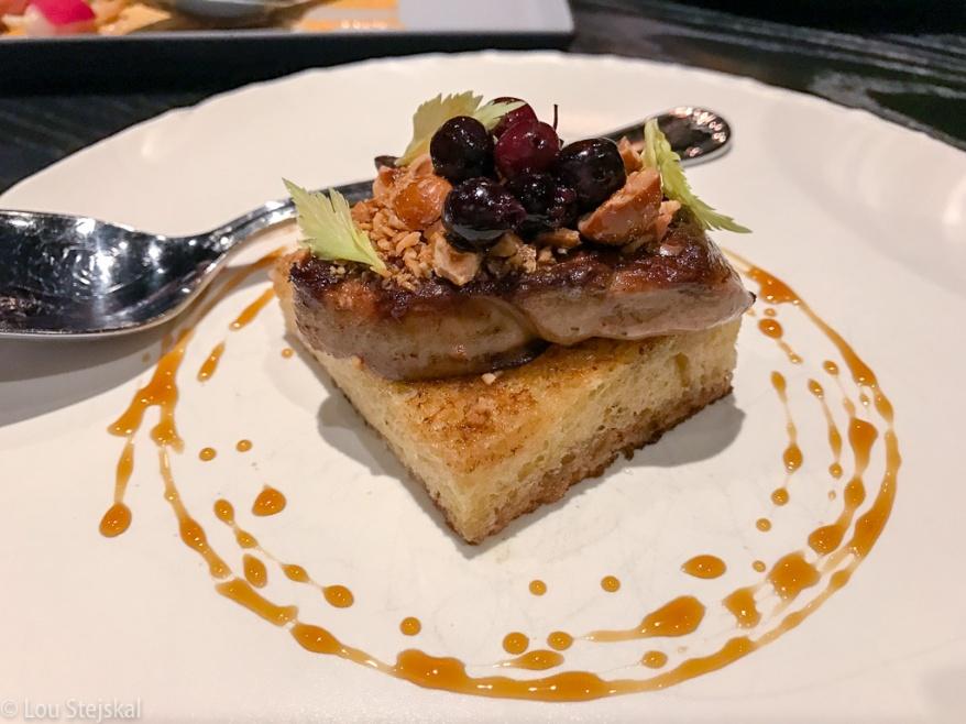 Seared Foie Gras. Saskatoon berries, brioche, candied hazelnuts ($20)