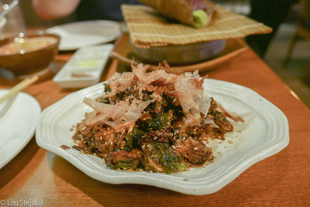 Crispy Brussels Sprouts, Wafu, Mustard, Bonito Flakes