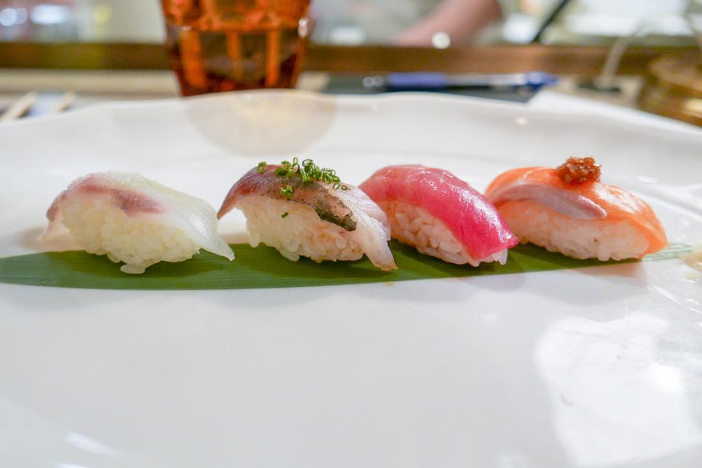 Nigiri: Hirame, Aji, Chu Toro, Ora King Salmon [Juno]