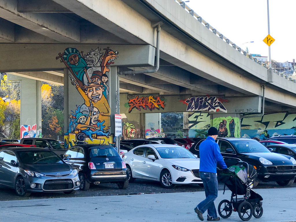 Murals painted beneath highway